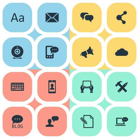 Vector Illustration Set Of Simple Newspaper Icons. Elements Gossip, Man Considering, E-Letter And Other Synonyms Profile, Cedilla And Camera. Illustration