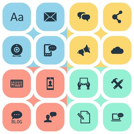 Vectorillustratiereeks Eenvoudige Krantenpictogrammen. Elementen Gossip, Man Overwegend, E-Letter en ander synoniemenprofiel, Cedilla en camera. Stockfoto - 77401823