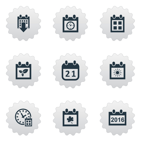 Vector Illustration Set Of Simple Time Icons. Elements History, Summer Calendar, 2016 Calendar And Other Synonyms Planner, Spring And History.