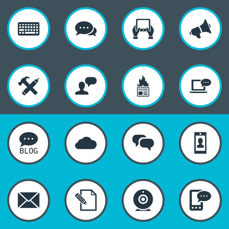 Vector Illustration Set Of Simple User Icons. Elements E-Letter, Laptop, Loudspeaker And Other Synonyms Negotiation, Overcast And Profile. Ilustrace