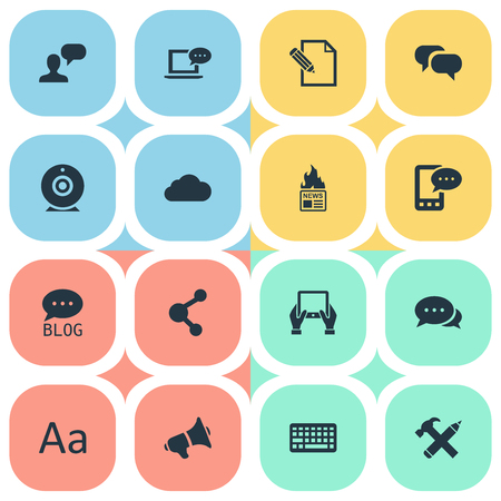 Vector Illustration Set Of Simple User Icons. Elements E-Letter, Man Considering, Repair And Other Synonyms Overcast, Typography And Pencil.