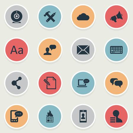 Vector illustratie Set van eenvoudige bloggen pictogrammen. Elementen Roddelen, delen, overwegen en andere synoniemen Post, uitzending en bericht.