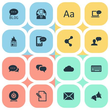 Vector Illustration Set Of Simple Blogging Icons. Elements International Businessman, Argument, Share And Other Synonyms Keypad, Gazette And Camera. Illustration