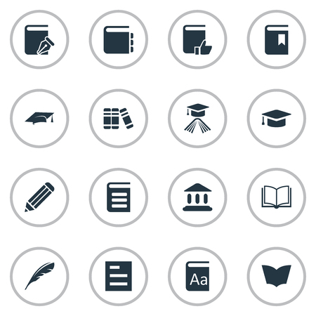 Vector Illustration Set Of Simple Knowledge Icons. Elements Sketchbook, Pen, Graduation Hat And Other Synonyms Document, Writing And Sketchbook.