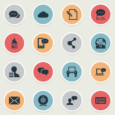 Vector Illustration Set Of Simple Blogging Icons. Elements Man Considering, E-Letter, Keypad And Other Synonyms Sky, Pen And Overcast.