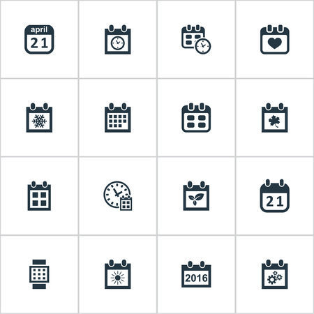 flotation: Vector Illustration Set Of Simple Date Icons. Elements Deadline, Heart, Date And Other Synonyms Calendar, Time And Hour. Illustration