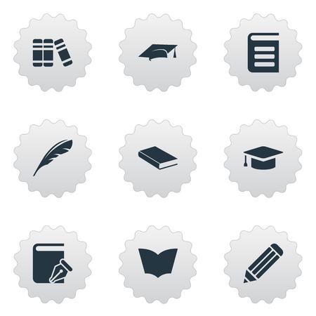 벡터 일러스트 레이 션 간단한 읽기 아이콘의 집합입니다. 요소 백과 사전, 학업 모자, 스케치북 및 기타 동의어 모자, 스케치북 및 책장. 일러스트