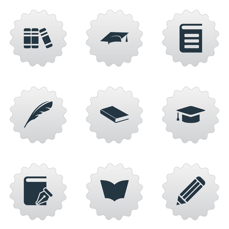 Vector Illustration Set Of Simple Reading Icons. Elements Encyclopedia, Academic Cap, Sketchbook And Other Synonyms Cap, Sketchbook And Bookshelf.