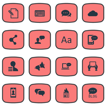 Vector Illustration Set Of Simple User Icons. Elements Share, Cedilla, Profile And Other Synonyms Writing, Relation And Pen.