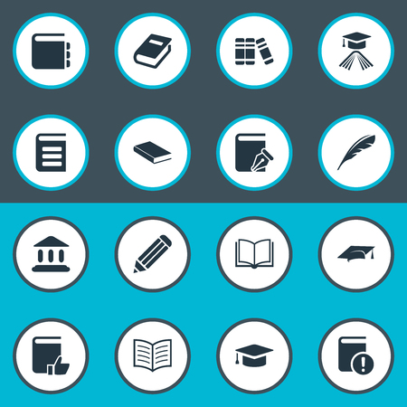 Illustration Set Of Simple Books Icons. Elements Recommended Reading, Library, Book Page And Other Synonyms School, Literature And Graduation. Illustration