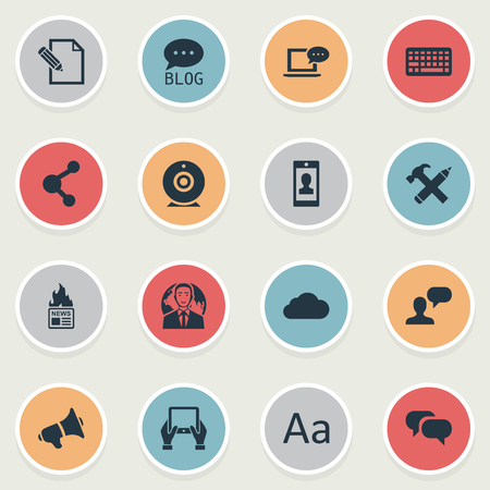 Illustration Set Of Simple Newspaper Icons. Elements Gazette, Repair, Man Considering And Other Synonyms Share, Alphabet And Man.