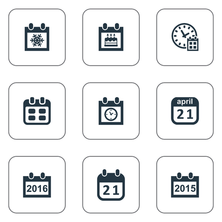 Vector Illustration Set Of Simple Time Icons. Elements Remembrance, Planner, Event And Other Synonyms Data, Reminder And Deadline. Illustration