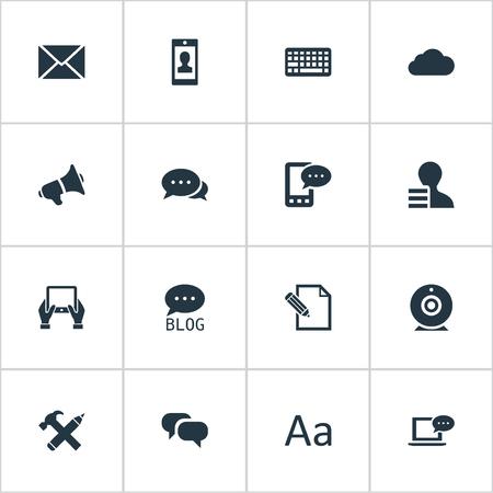 Vector illustratie Set van eenvoudige bloggen pictogrammen. Elementen Bewolkt, uitzending, versterking en ander synoniemenforum, man en bewolking.