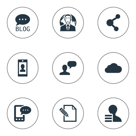 Vector Illustration Set Of Simple User Icons. Elements Profile, Overcast, Document And Other Synonyms Network, E-Letter And Blog.