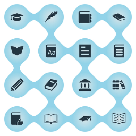 Vector Illustration Set Of Simple Books Icons. Elements Blank Notebook, Encyclopedia, Academic Cap And Other Synonyms Note, Journal And Writing.