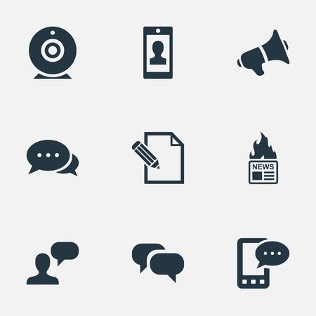 Vector Illustration Set Of Simple User Icons. Elements Gazette, Argument, Gossip And Other Synonyms Speaker, Loudspeaker And Megaphone. Illustration
