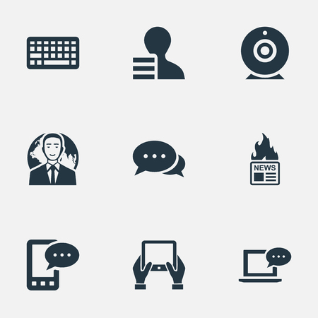 pad: Vector Illustration Set Of Simple Newspaper Icons. Elements International Businessman, Broadcast, Notepad And Other Synonyms News, Camera And Phone.