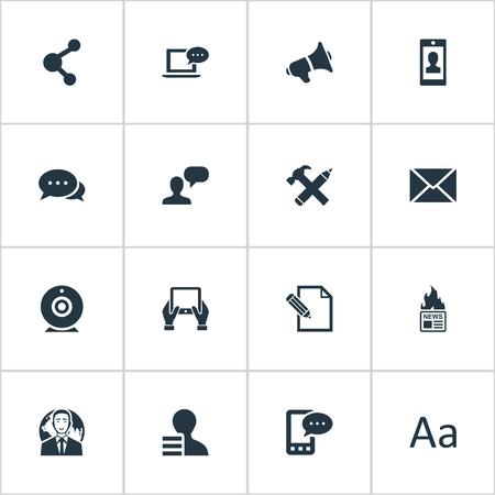 Vector illustratie Set van eenvoudige bloggen pictogrammen. Elements Post, Luidspreker, e-brief en andere synoniemen Delen, telefoon en krant. Stockfoto - 77381406