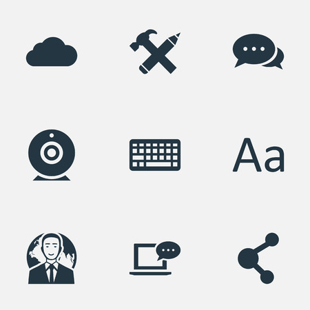 Vector Illustration Set Of Simple User Icons. Elements Cedilla, Keypad, International Businessman And Other Synonyms Sky, Camera And Coming.