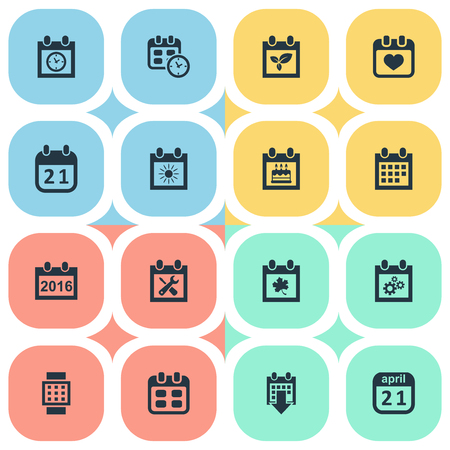 Vector Illustration Set Of Simple Calendar Icons. Elements Almanac, Heart, Special Day And Other Synonyms April, Data And Annual.