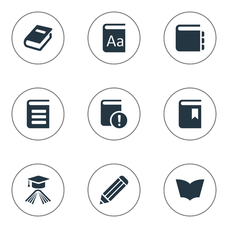 Illustration Set Of Simple Education Icons. Elements Graduation Hat, Important Reading, Encyclopedia And Other Synonyms Writing, Important And Hat.