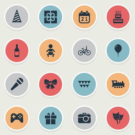Illustration vectorielle définie des icônes simples de célébration. Éléments Vélo, Parole, Résonance Et Autres Synonymes Confiserie, Jeu Et Enfant. Banque d'images - 77403777
