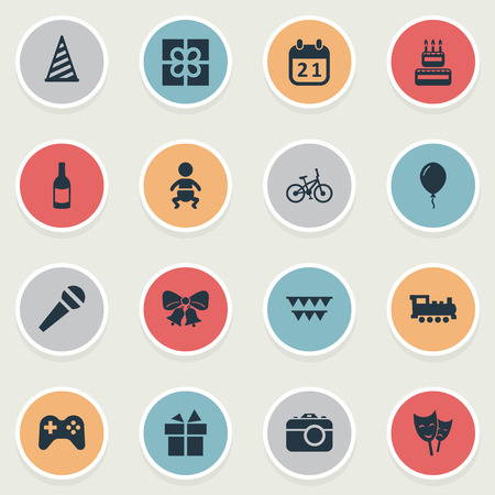 Vector Illustration Set Of Simple Celebration Icons. Elements Bicycle, Speech, Resonate And Other Synonyms Sweetmeat, Game And Infant. Ilustração