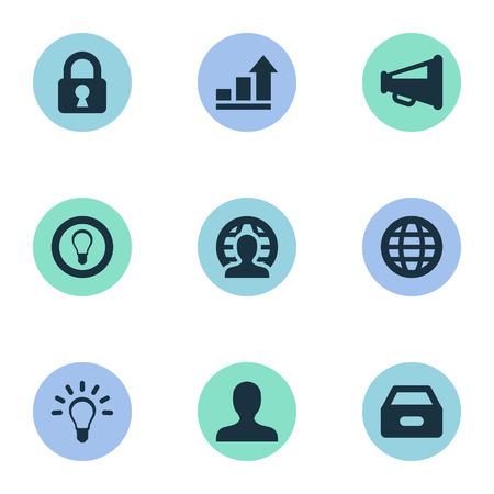 単純なビジネス アイコンのベクター イラスト セット。匿名の要素、南京錠、メガホン、他の同義語を増やす、匿名と電球。