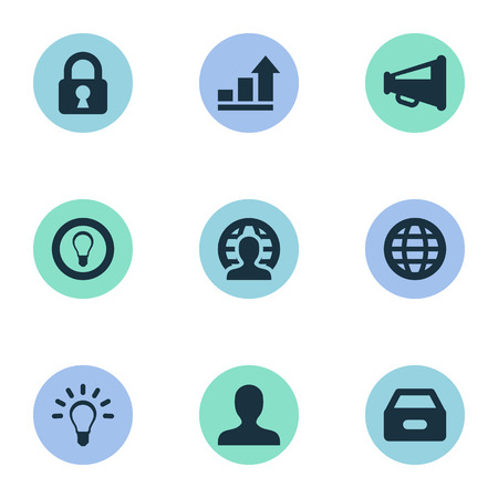 Illustrazione vettoriale Set di icone semplici di affari. Elementi anonimi, lucchetto, megafono e altri sinonimi: aumento, anonimo e lampadina. Archivio Fotografico - 77403799