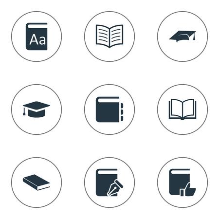 벡터 일러스트 레이 션 간단한 교육 아이콘의 집합입니다. 요소 알파벳, 스케치북, 빈 노트북 및 다른 동의어 카탈로그, 추천 및 스케치 북.