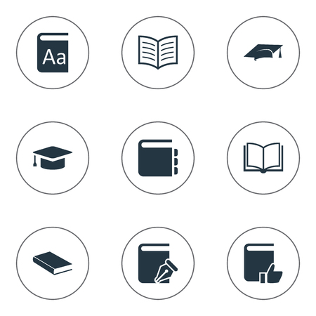Vector Illustration Set Of Simple Education Icons. Elements Alphabet, Sketchbook, Blank Notebook And Other Synonyms Catalog, Recommended And Sketchbook.