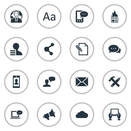 Vector Illustration Set Of Simple Blogging Icons. Elements Profile, Man Considering, Post And Other Synonyms Argument, Cloud And Typography. Çizim