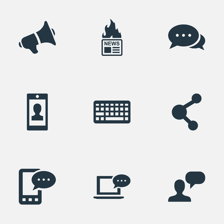 information medium: Illustration Set Of Simple Blogging Icons. Elements Gazette, Laptop, Argument And Other Synonyms Coming, Laptop And Speaker. Illustration