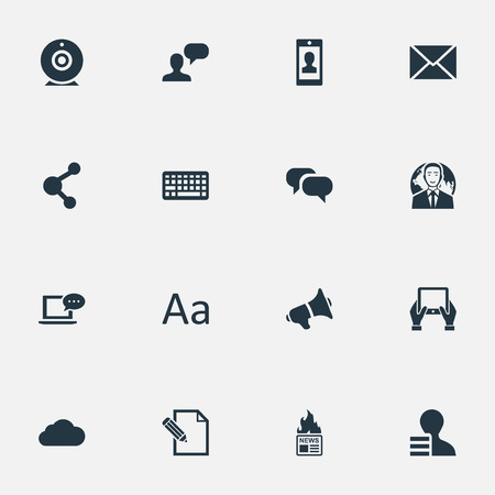 Vector Illustration Set Of Simple Newspaper Icons. Elements Post, Notepad, Gazette And Other Synonyms Megaphone, Camera And Pen.
