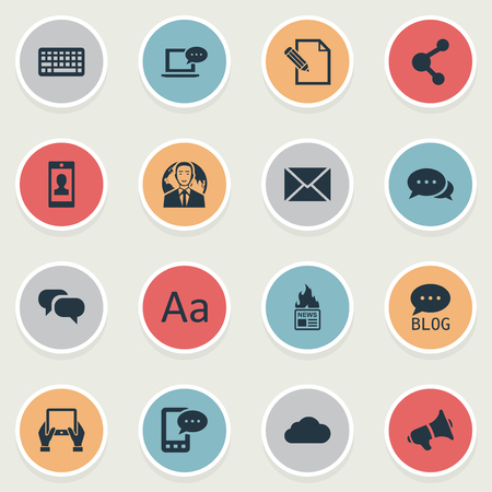 Vector Illustration Set Of Simple Newspaper Icons. Elements Site, Post, Gossip And Other Synonyms Network, Share And Discussion. Ilustrace