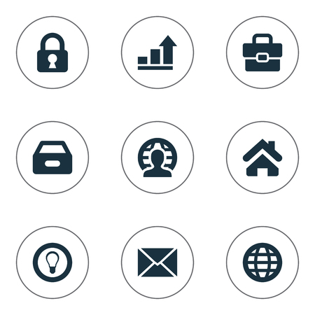 Illustration Set Of Simple Trade Icons. Elements Padlock, Human, World And Other Synonyms Progress, Portfolio And Box.