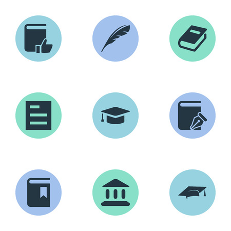 Illustration Set Of Simple Education Icons. Elements Tasklist, Notebook, Academic Cap And Other Synonyms Feather, Recommended And Building. Illustration