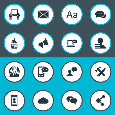 laptop repair: Vector Illustration Set Of Simple Newspaper Icons. Elements Laptop, Notepad, Share And Other Synonyms Repair, Tablet And Profit. Illustration