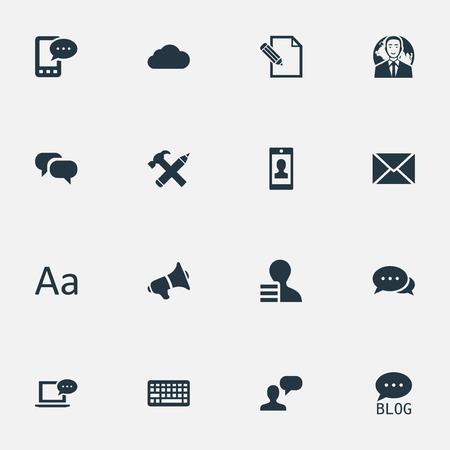 Vector Illustration Set Of Simple Blogging Icons. Elements Site, International Businessman, Keypad And Other Synonyms Gain, Considering And Loudspeaker. Illustration