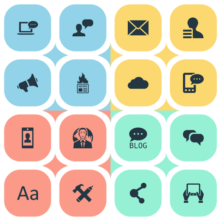 Vector Illustration Set Of Simple User Icons. Elements Overcast, Man Considering, E-Letter And Other Synonyms Profile, Loudspeaker And Phone. Illustration