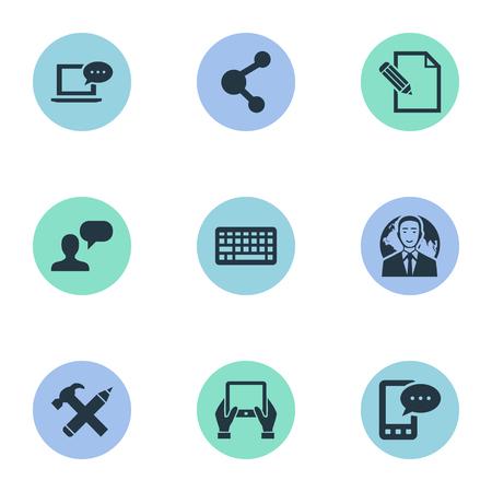 Vectorillustratiereeks Eenvoudige Gebruikerspictogrammen. Elementen toetsenblok, reparatie, document en ander synoniemendebat, toetsenbord en potlood.