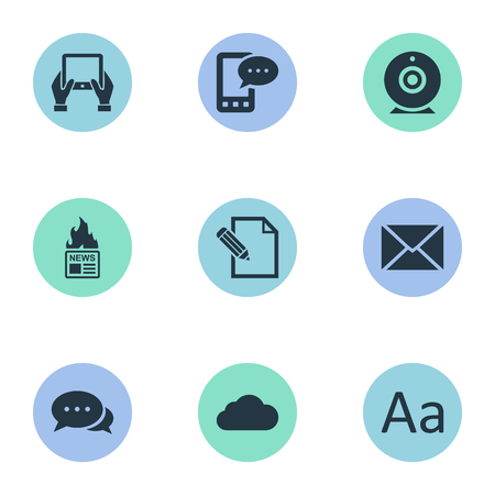 Illustration Set Of Simple Newspaper Icons. Elements Notepad, Argument, Gazette And Other Synonyms Camera, Hand And Gazette. Illustration