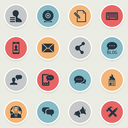 Illustration Set Of Simple Blogging Icons. Elements Man Considering, Argument, E-Letter And Other Synonyms Profit, Hot And Message.