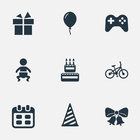Vector Illustration Set Of Simple Holiday Icons. Elements Cap, Days, Aerostat And Other Synonyms Ribbon, Prize And Baby.