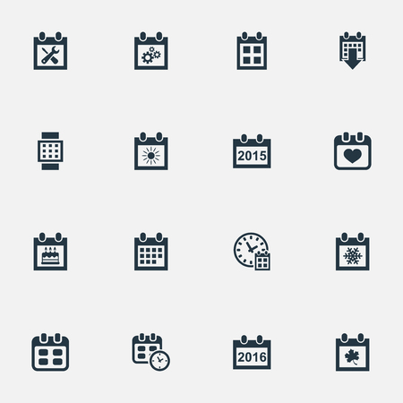 Vector Illustration Set Of Simple Date Icons. Elements Special Day, Heart, Renovation Tools And Other Synonyms Summer, Event And Watch.
