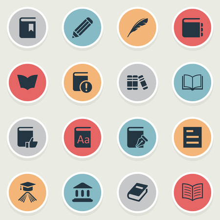 Vector Illustration Set Of Simple Education Icons. Elements Book Page, Journal, Reading And Other Synonyms Catalog, Writing And Graduation. Ilustrace