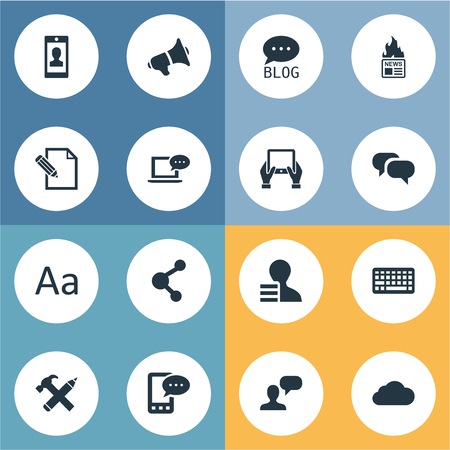 intercourse: Vector Illustration Set Of Simple Blogging Icons. Elements Gazette, Laptop, Profile And Other Synonyms Site, Sky And Gain. Illustration