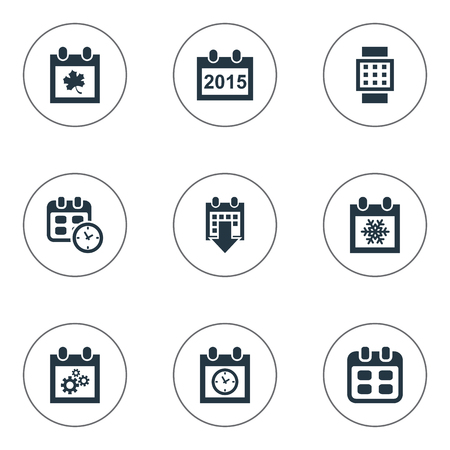 Vector Illustration Set Of Simple Calendar Icons. Elements Annual, Leaf, Date And Other Synonyms History, Calendar And Almanac.