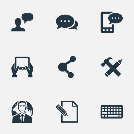 Vector Illustration Set Of Simple User Icons. Elements E-Letter, Argument, Man Considering And Other Synonyms Hand, Notepad And Network. Illustration