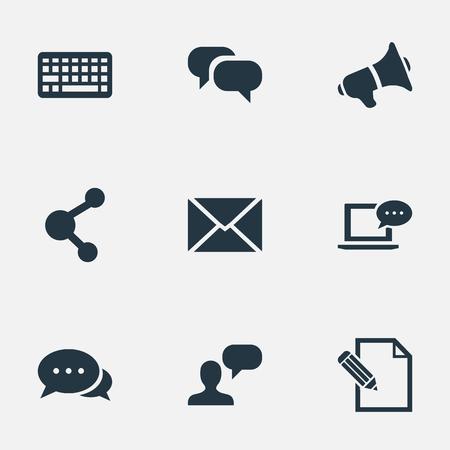 Vectorillustratiereeks Eenvoudige Krantenpictogrammen. Elementen delen, document, argument en andere synoniemen Post, man en overweging.